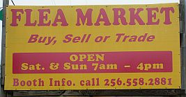 Snead Indoor Flea Market road-side sign